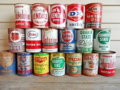 LOT OF 18 VINTAGE QT OIL CANS.(Power,Durolube,Hi Temp,Kendall,Philips 66,DX,ext.