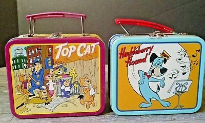 Lot of 2 Small Metal Lunchboxes Top Cat & Huckleberry Hound Hanna Barbera