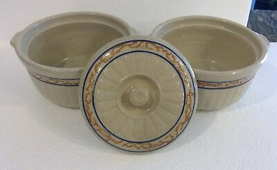 Antique Red Wing Sponge Banded Casserole Bowls with Lid Cover