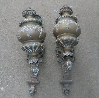 2 Antique Medieval Gothic Vintage Bronze Brass French Torch Sconces PART ASIS