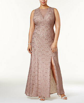 Plus Size Illusion Glitter Lace Dress by R&M Richards