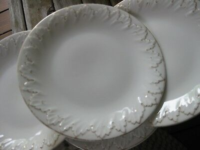 7 Antique German/Bavarian? Porcelain Plates Hand Painted Aesthetic Gold/White