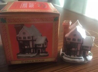 David Winter Cottages Christmas Ornament SUFFOLK HOUSE 1992 MIB