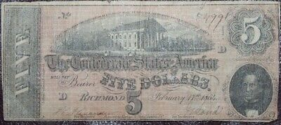 1864 $5.00 Confederate States of America Auction w/a Bid Starting at $0.99