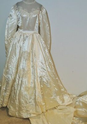 Vintage  1940's - 1950's Heavy Satin Beaded Wedding Gown w Lace MED - LG