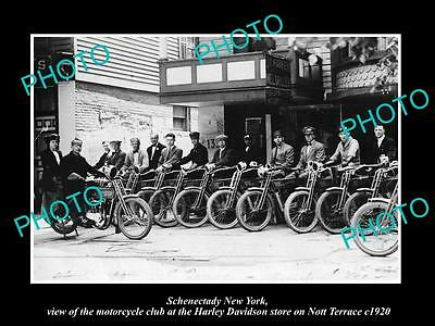 OLD LARGE HISTORIC PHOTO OF SCHENECTADY NEW YORK, HARLEY DAVIDSON STORE c1920DD