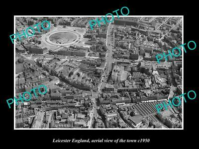OLD LARGE HISTORIC PHOTO OF LEICESTER ENGLAND, AERIAL VIEW OF THE TOWN c1950 2