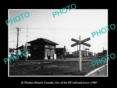 Old Large Historic Photo Of St Thomas Ontario Canada, The Bx Railroad Tower 1960