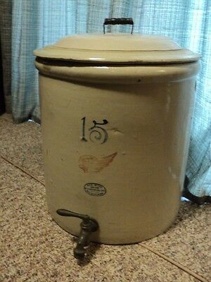 Red Wing 15 Gallon Crock Wood Handled Daisy Lid Special Order Fill & Drain Holes
