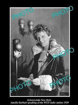 OLD LARGE HISTORIC PHOTO OF SCHENECTADY NEW YORK, AMELIA EARHART WGY RADIO c1929