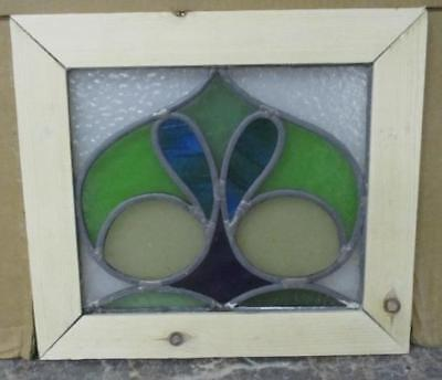 "OLD ENGLISH STAINED GLASS WINDOW Abstract Floral Beautiful Heart 13.5"" x 12"""