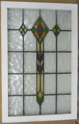 """LARGE OLD ENGLISH LEADED STAINED GLASS WINDOW Diamond Abstract 22.25"""" x 34.25"""""""