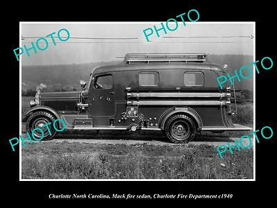 OLD LARGE HISTORIC PHOTO OF CHARLOTTE NORTH CAROLINA FIRE DEPARTMENT TRUCK c1940