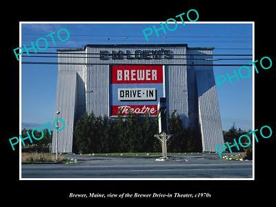 OLD LARGE HISTORIC PHOTO OF BREWER MAINE, THE BREWER DRIVE IN THEATER c1970s
