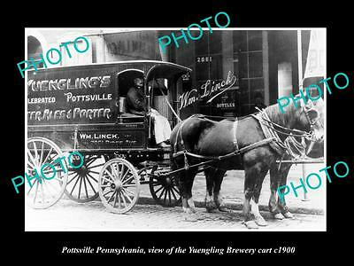 OLD LARGE HISTORIC PHOTO OF POTTSVILLE PENNSYLVANIA, YUENGING BREWERY CART c1900