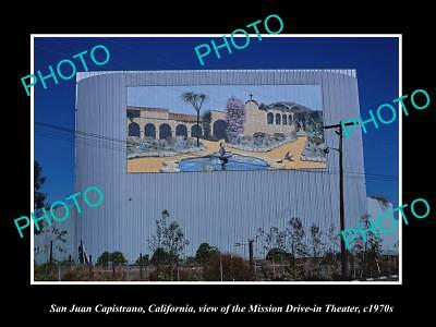 OLD LARGE HISTORIC PHOTO, SAN JUAN CAPISTRANO CALIFORNIA DRIVE IN THEATER c1970s