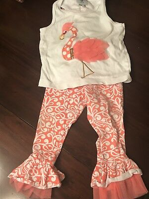 Mud Pie Flamingo Tank Top And Pants Set Todder Baby Girl 12 month