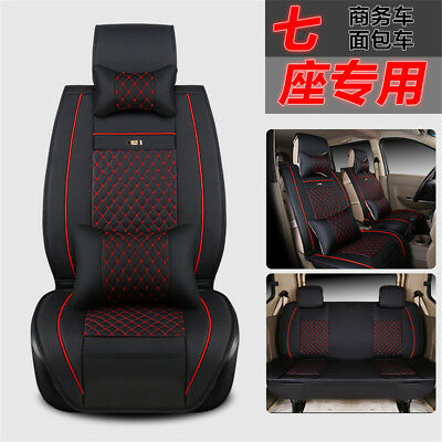 Deluxe PU Leather 7 Seater Business Car Seat Cover Front+Middle+Rear w/ Pillows