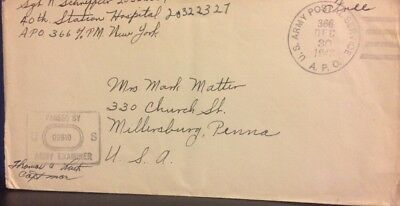 "World War Ii Censored ""free"" Mail Us Army Postal Service A.p.o. 366 12/30/1943"