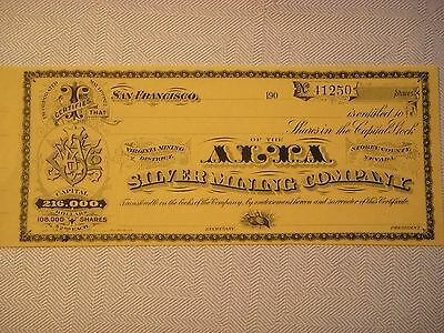 Alta Silver Mining Co., Unissued Stock Certificate No. 41250, Storey Co., Nevada