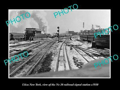 OLD HISTORIC PHOTO OF UTICA NEW YORK, THE No 30 RAILROAD SIGNAL TOWER c1930