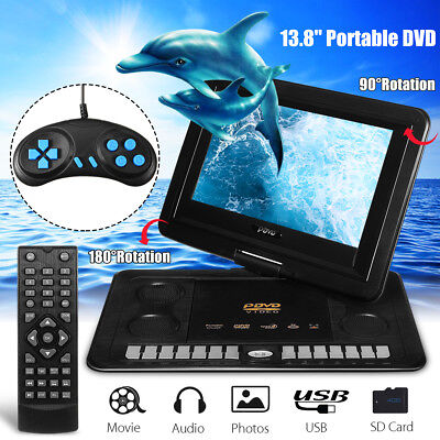Portable 13.8'' DVD Player EVD Game 270° Screen USB SD with Remote Control AU