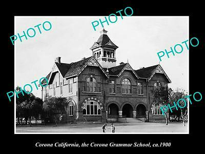 OLD LARGE HISTORIC PHOTO OF CORONA CALIFORNIA, VIEW OF THE GRAMMER SCHOOL c1900