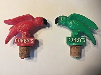 1960's Pair of Vintage Corby's Parrot Bottle Pourers / Stoppers Red & Green