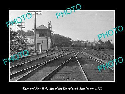 OLD LARGE HISTORIC PHOTO OF KENWOOD NEW YORK, THE KN RAILROAD SIGNAL TOWER c1930