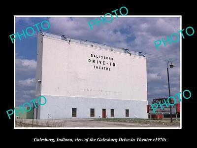 OLD LARGE HISTORIC PHOTO OF GALESBURG INDIANA, THE DRIVE IN MOVIE THEATER c1970