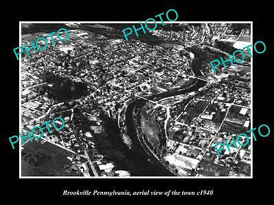OLD LARGE HISTORIC PHOTO OF BROOKVILLE PENNSYLVANIA, AERIAL VIEW OF TOWN c1940