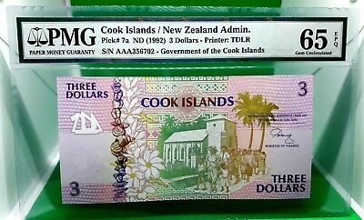 Money Cook Islands / New Zealand Administration 3 Dollars 1992 Pmg Gem Unc 65