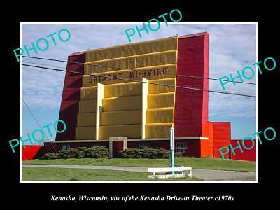 OLD LARGE HISTORIC PHOTO OF KENOSHA WISCONSIN, THE DRIVE IN MOVIE THEATER c1970
