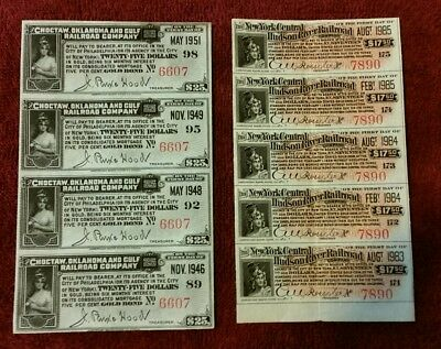 Choctaw Oklahoma & Gulf Railroad New York Central Hudson River Gold Bond Coupons