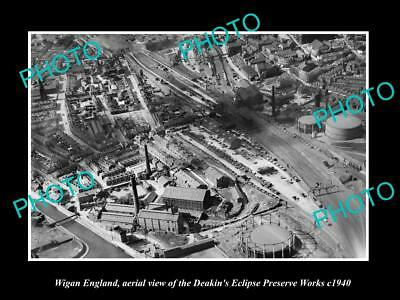 OLD LARGE HISTORIC PHOTO OF WIGAN ENGLAND, AERIAL VIEW OF PRESERVE WORKS c1940