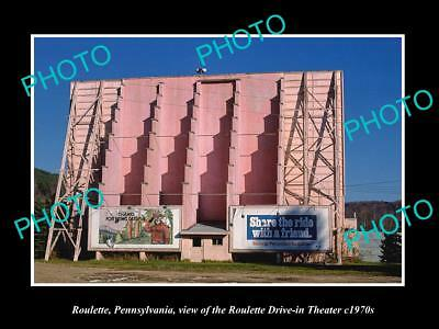 OLD LARGE HISTORIC PHOTO OF ROULETTE PENNSYLVANIA, THE DRIVE IN THEATER c1970
