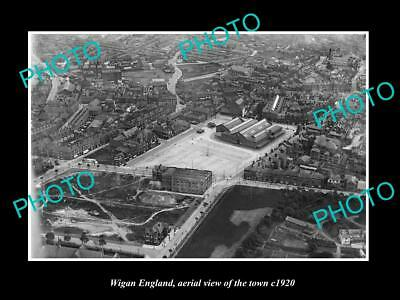 OLD LARGE HISTORIC PHOTO OF WIGAN ENGLAND, AERIAL VIEW OF THE TOWN c1920 1