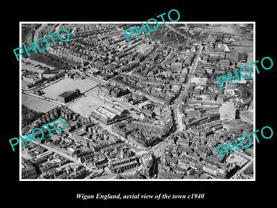 OLD LARGE HISTORIC PHOTO OF WIGAN ENGLAND, AERIAL VIEW OF THE TOWN c1940 1