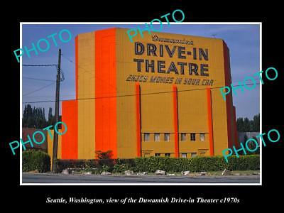 OLD LARGE HISTORIC PHOTO OF SEATTLE WASHINGTON, THE DRIVE IN MOVIE THEATER c1970