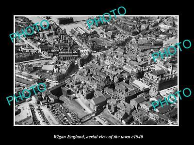 OLD LARGE HISTORIC PHOTO OF WIGAN ENGLAND, AERIAL VIEW OF THE TOWN c1940 3