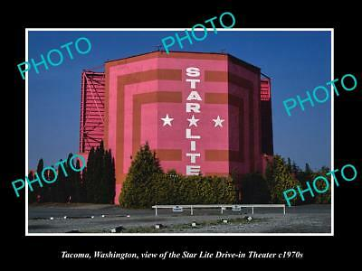 OLD LARGE HISTORIC PHOTO OF TACOMA WASHINGTON, STAR LITE DRIVE IN THEATER c1970