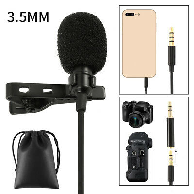 Clip-on Solapa Mini Lavalier Mic Micrófono para iPhone SmartPhone Grabación PC