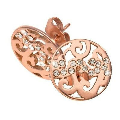 NEW Nikki Lissoni Rose Gold Stud Earring Baroque Fantasy EA2003RGS Plated 15mm