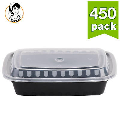 450 count BLACK Take-Out Microwavable Food Container with Lid Storage Meal Prep