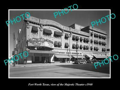 OLD LARGE HISTORIC PHOTO OF FORT WORTH TEXAS, THE MAJESTIC THEATER c1940