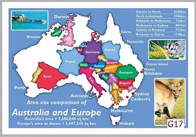 10 Map Postcards of Australian vs Europe Comparison