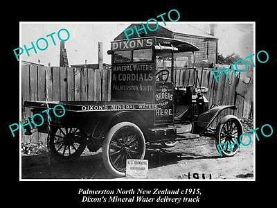 Old Large Historic Photo Of Palmerston North Nz, Dixons Cordial Works Truck 1915