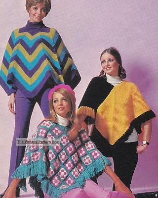 3 EASY PONCHOS / 2 knit 1 crochet - 8ply or D.K. - COPY ladies knitting pattern