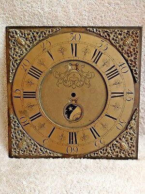 "11"" square brass clockface"