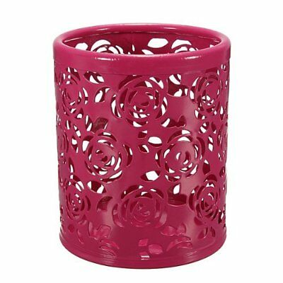 Water & Wood Hollow Rose Flower Pattern Cylinder Pen Pencil Pot Holder Red